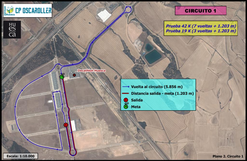 Plano circuito 1 sobre ortofoto PNOA 2.015