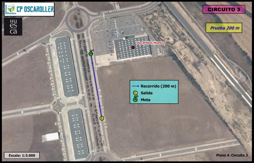 Plano circuito 3 sobre ortofoto PNOA 2.015